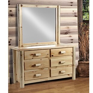 Chelsea Home Furniture Chesterfield 6 Drawer Double Dresser with Mirror