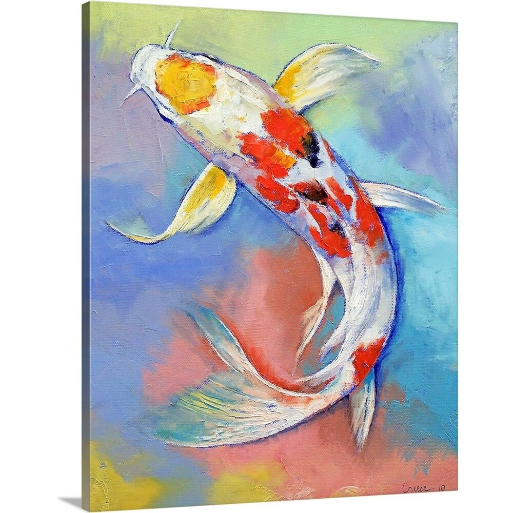 Canvas On Demand Butterfly Koi Fish By Michael Creese Painting Print On Canvas Wayfair