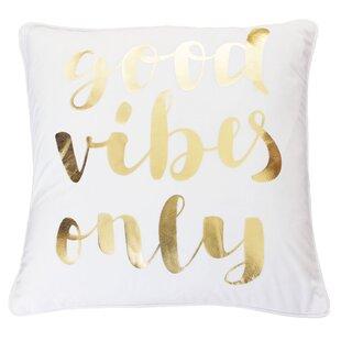 Zuniga Good Vibes Only Script Velvet Pillow