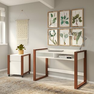 Voss Writing Desk with Filing Cabinet Set