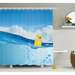 Rubber Duck Swimming in Pool Shower Curtain + Hooks