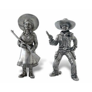 Western Frontier Pewter Cowboy And Cowgirl Salt And Pepper Shaker Set by Vagabond House