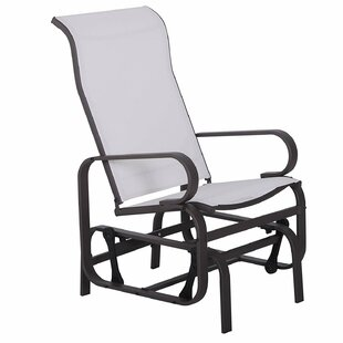 Dalke Metal Mesh Fabric Single Outdoor Patio Glider Rocking Chair