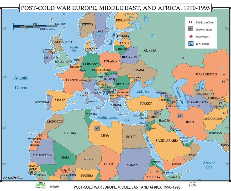 Universal map world history wall maps post cold war europe middle world history wall maps post cold war europe middle east africa gumiabroncs Images