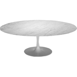 Larkson White Oval Marble Dining Table