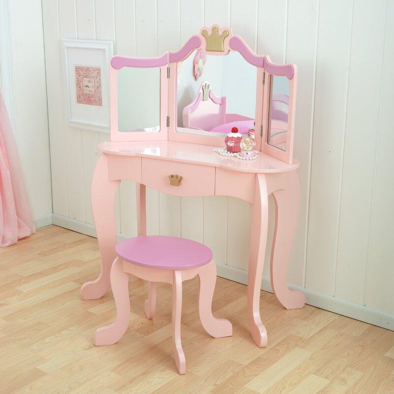 KidKraft Princess Vanity Set with Mirror & Reviews | Wayfair