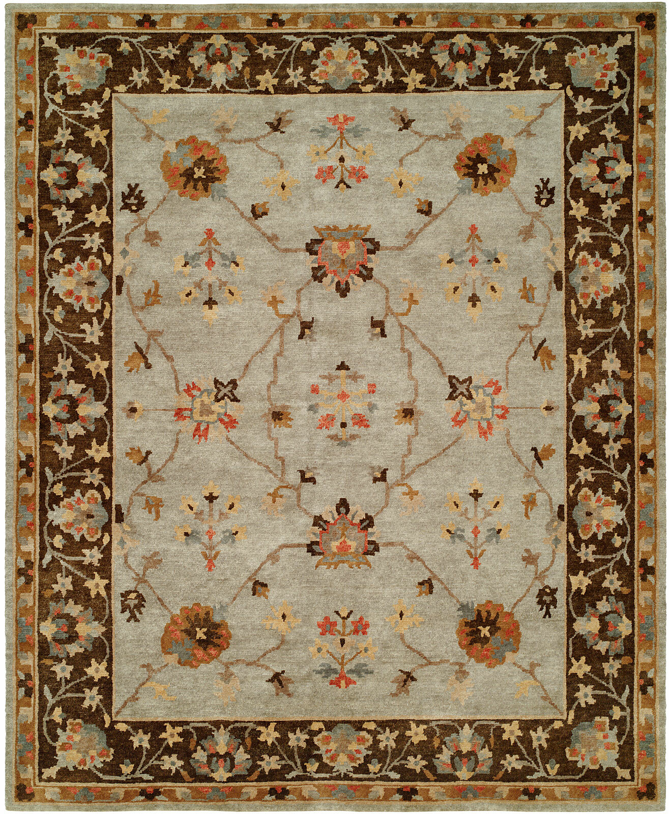 Darby Home Co Christie Oriental Hand Knotted Wool Gray Brown Area Rug Wayfair