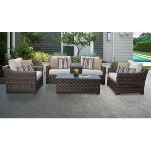 Kathy Ireland Homes Gardens River Brook 6 Piece Outdoor Wicker Patio Furniture Set 06a