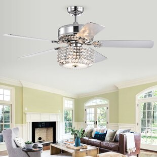 Pitchford 5 Blade Lighted Ceiling Fan with Remote, Light Kit Included by House of Hampton