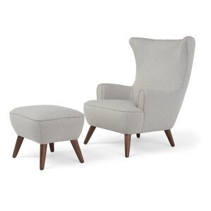 Ruby High Back Wingback Chair and Ottoman by..