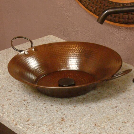 Round Hammered Metal Bar Sink with