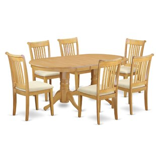 Daniella 7 Piece Extendable Solid Wood Dining Set by Alcott Hill