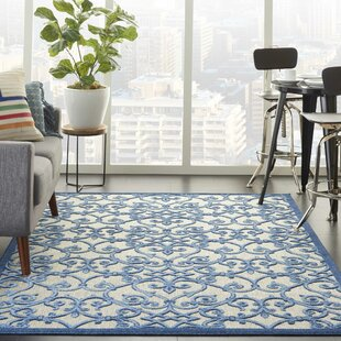 Weon Contemporary Geometric Flatweave Gray/Blue Indoor/Outdoor Area Rug