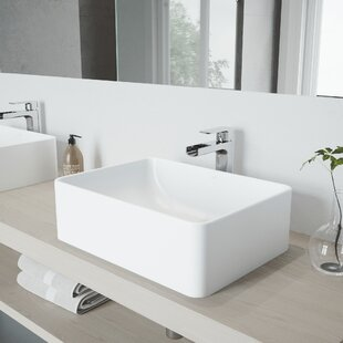 Amaryllis Stone Rectangular Vessel Bathroom Sink with Faucet VIGO