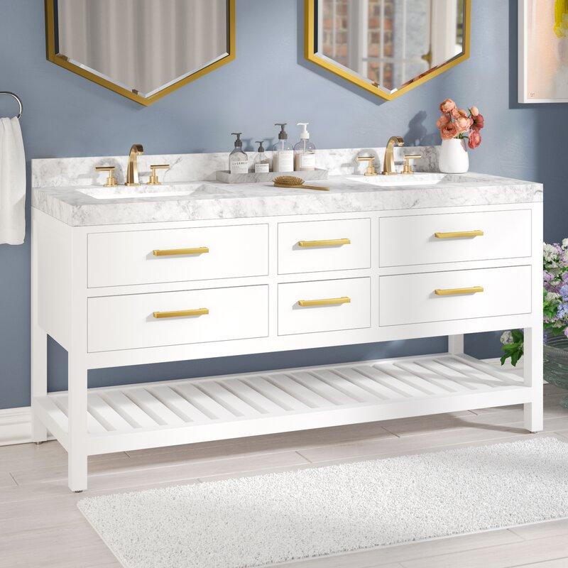 Coastal Farmhouse Carrie 60 Double Bathroom Vanity Set Wayfair