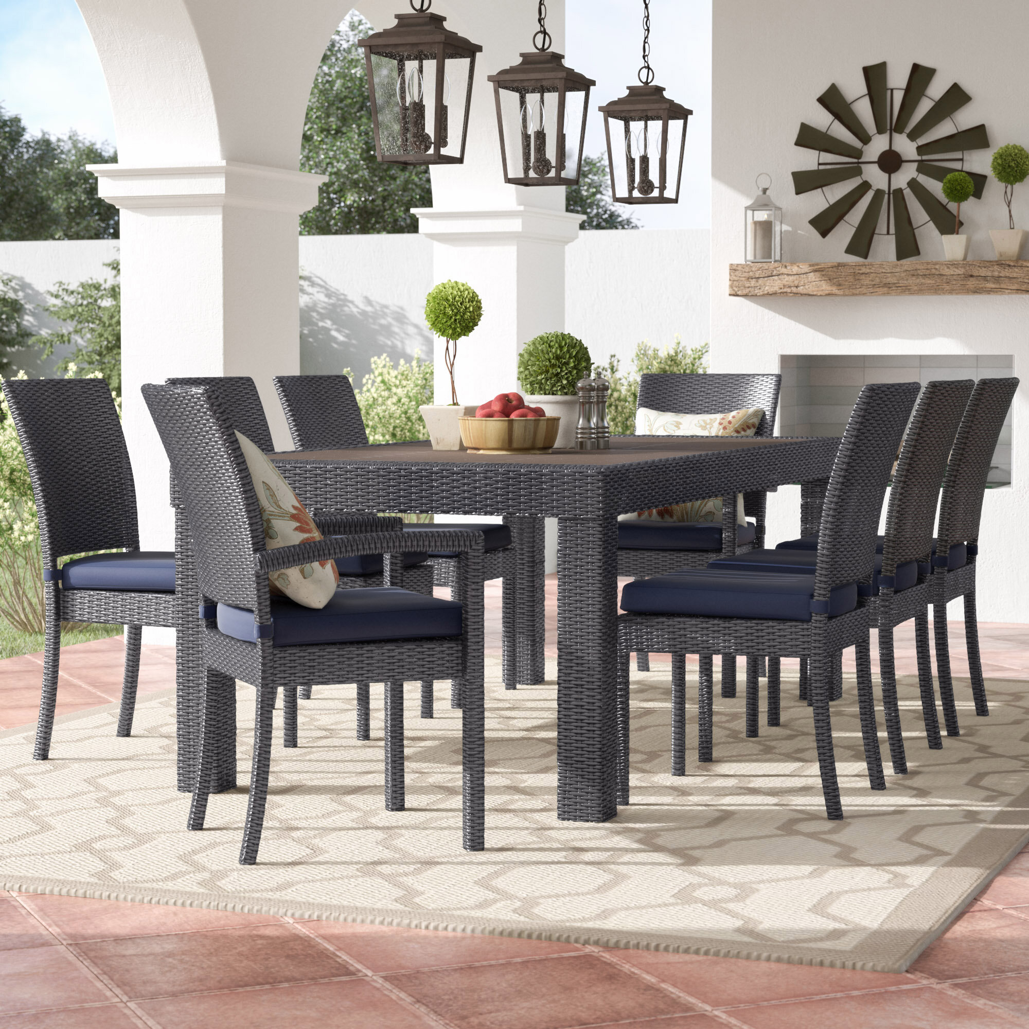 Three Posts Evansville 9 Piece Outdoor Dining Set with Cushion TRPT5366 Color: Charcoal Grey