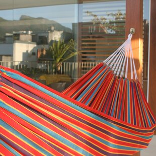 Single Person Fair Trade Portable Striped Carnival Rainbow' Hand-Woven Brazilian Cotton Indoor And Outdoor Hammock