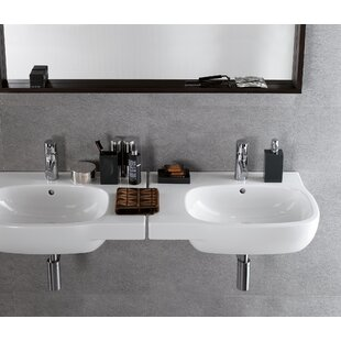 Buy luxury Moda Ceramic 26 Wall Mount Bathroom Sink with Overflow By Bissonnet