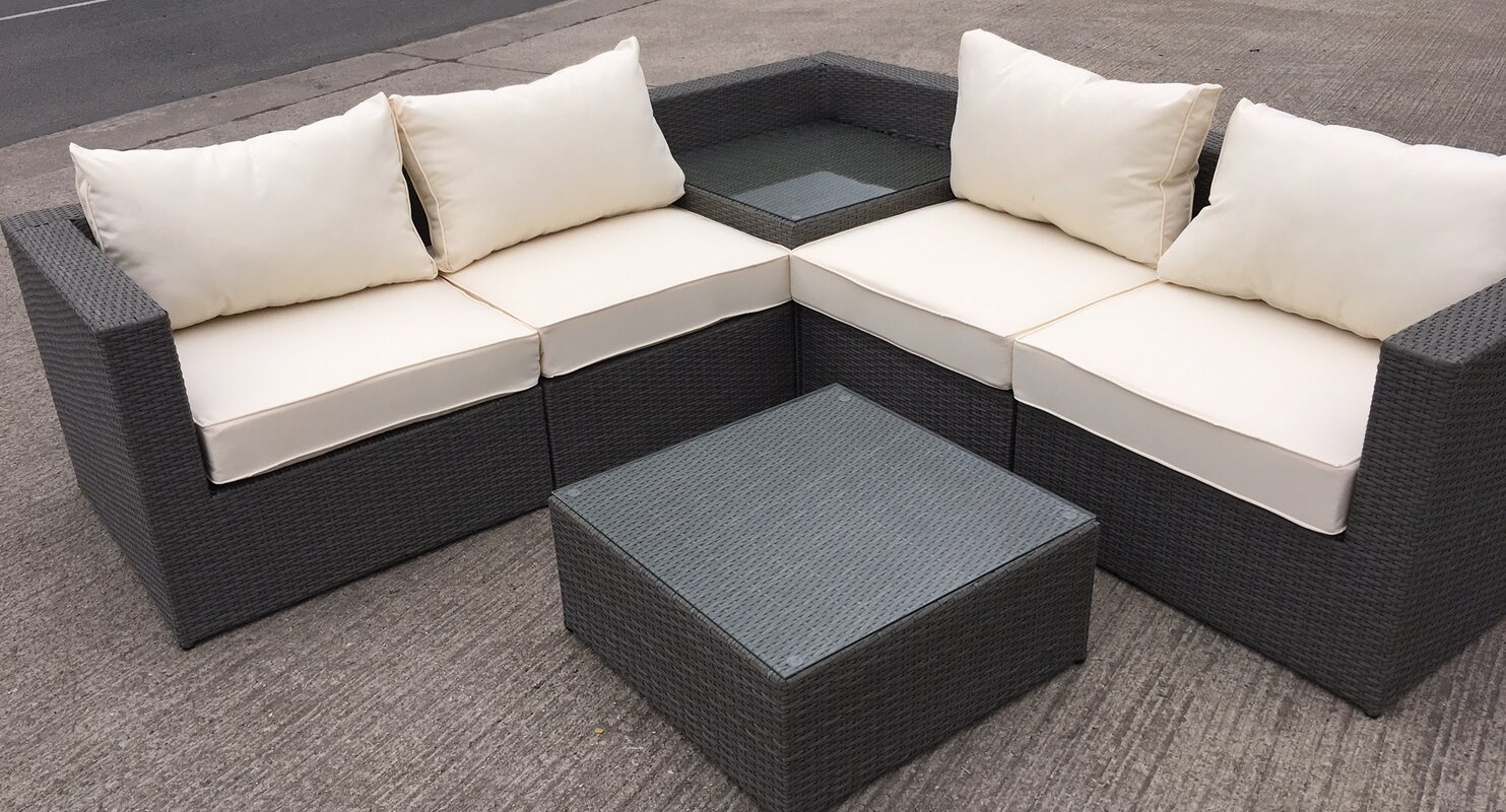 Rattan L-Shaped 5 Seater Sectional Sofa Set