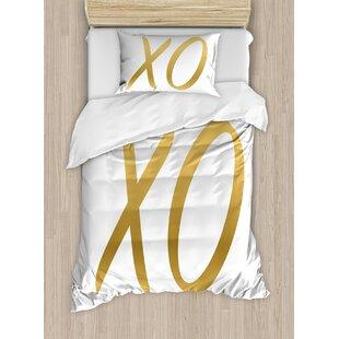 Xo Love Affection Happy Joyful Good Friendship Romance Sign Letters Artistic Design Duvet Set by East Urban Home