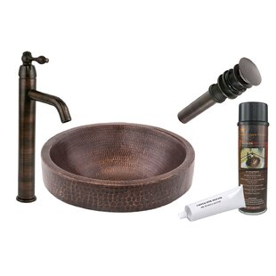 Premier Copper Products Skirted Metal Circular Vessel Bathroom Sink with Faucet