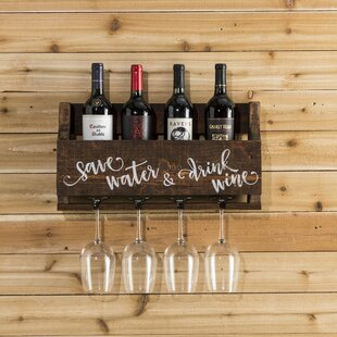 Mccandless Save Water 4 Bottle Wall Mounted Wine Rack