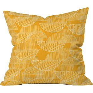 Mustard Arc Showers Polyester Throw Pillow