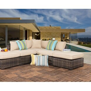 Haskins Outdoor 5 Piece Wicker Sectional Seating Group with Cushions