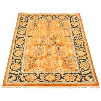 Isabelline One Of A Kind Overdyed Hand Knotted 1980s Yellow 4 4 X 8 Wool Area Rug Wayfair