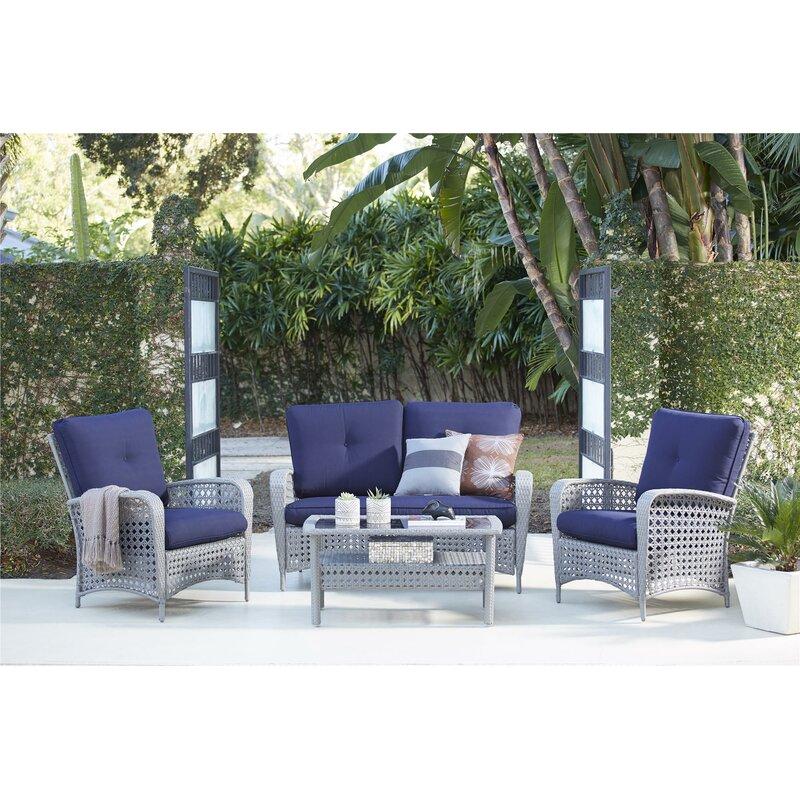 Edwards 4 Piece Sofa Set With Cushions
