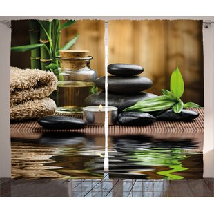 Spa Asian Zen Massage Stone Triplets with Herbal Oil and Scent CandlesGraphic Print & Text Semi-Sheer Rod Pocket Curtain Panels (Set of 2)