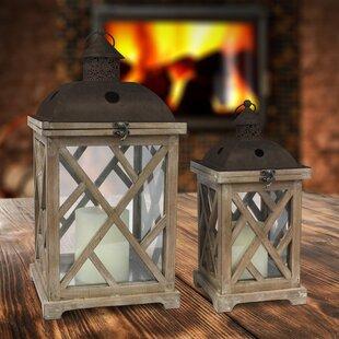 Ironwood 2 Piece Wood Lantern Set by Gracie Oaks