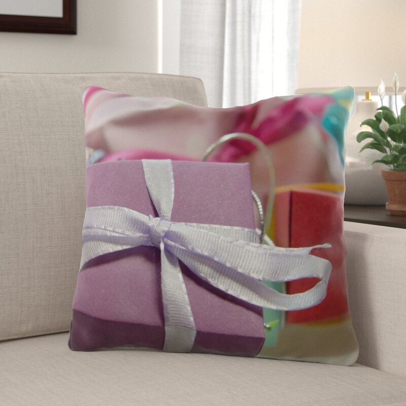 The Holiday Aisle Popovich Gift Indoor Outdoor Canvas Throw Pillow
