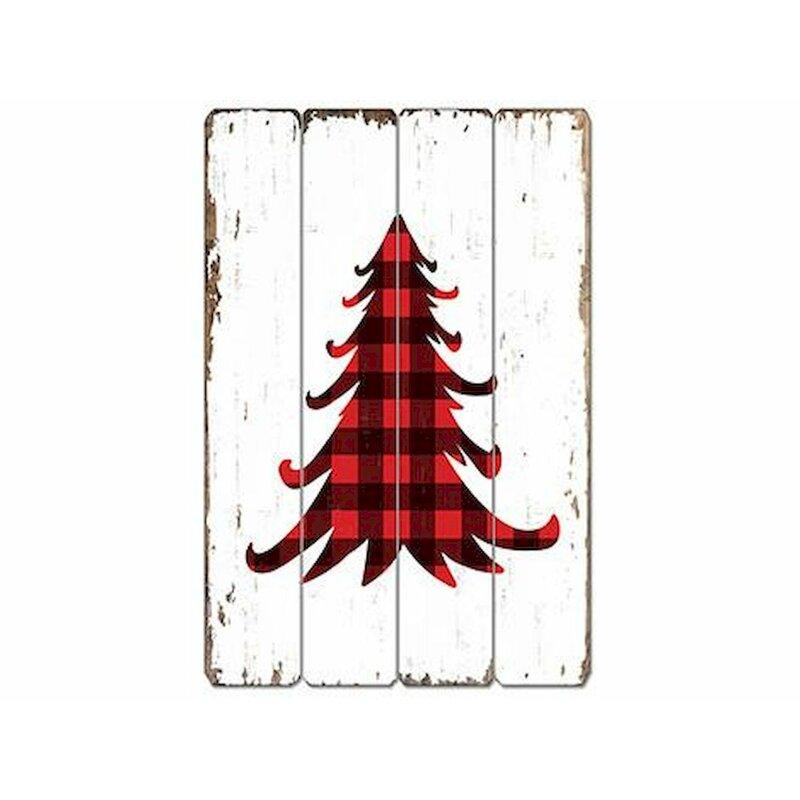 Buffalo+Plaid+Xmas+Tree+Wooden+Sign+Decorative+Accent