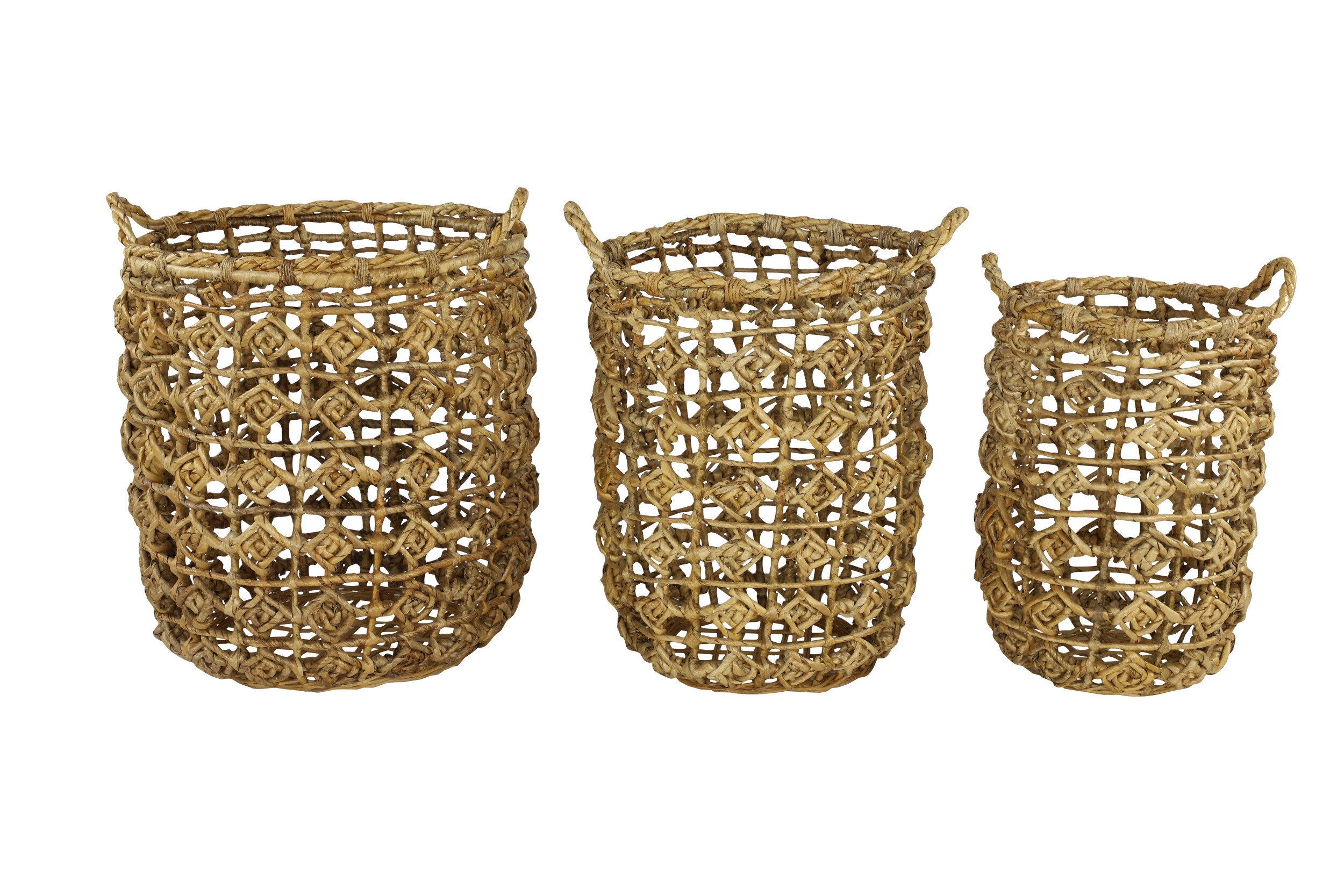 3 Piece Wicker Rattan Basket Set Allmodern