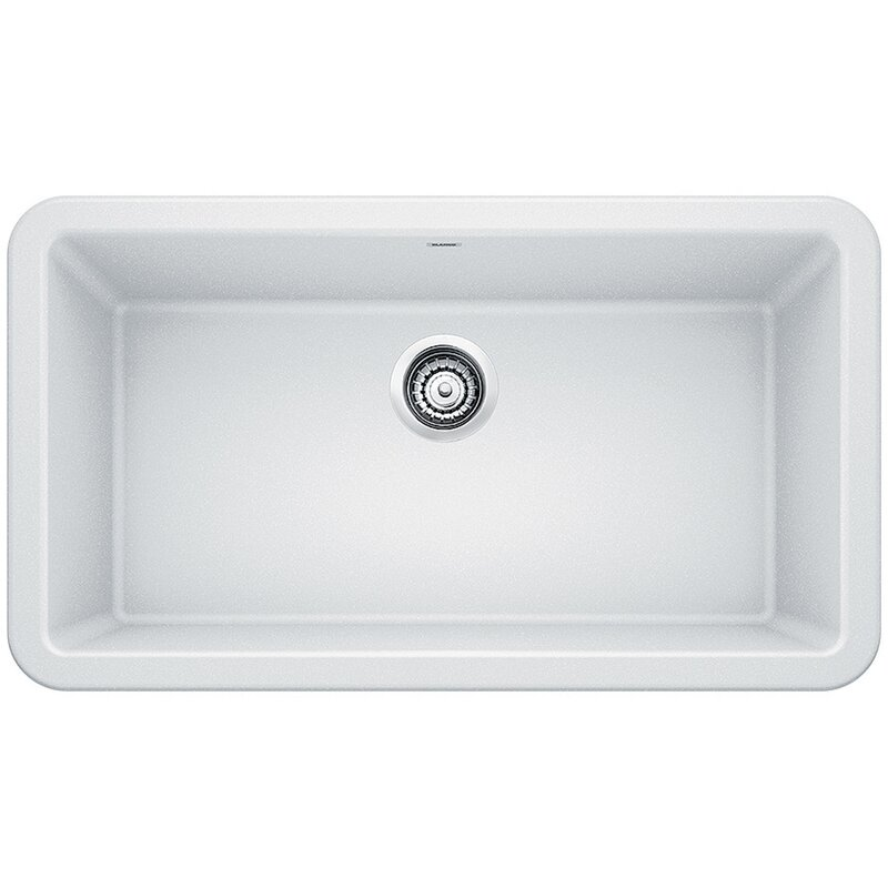 "Blanco Ikon 33"" L x 19"" W Farmhouse/Apron Kitchen Sink  Finish: White"