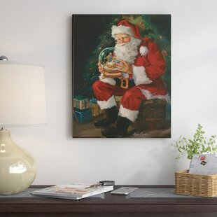 Santa Believes Painting Print On Wred Canvas