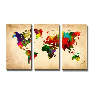 Maps canvas wall art wayfair world map multipiece image graphic art print on canvas gumiabroncs Choice Image