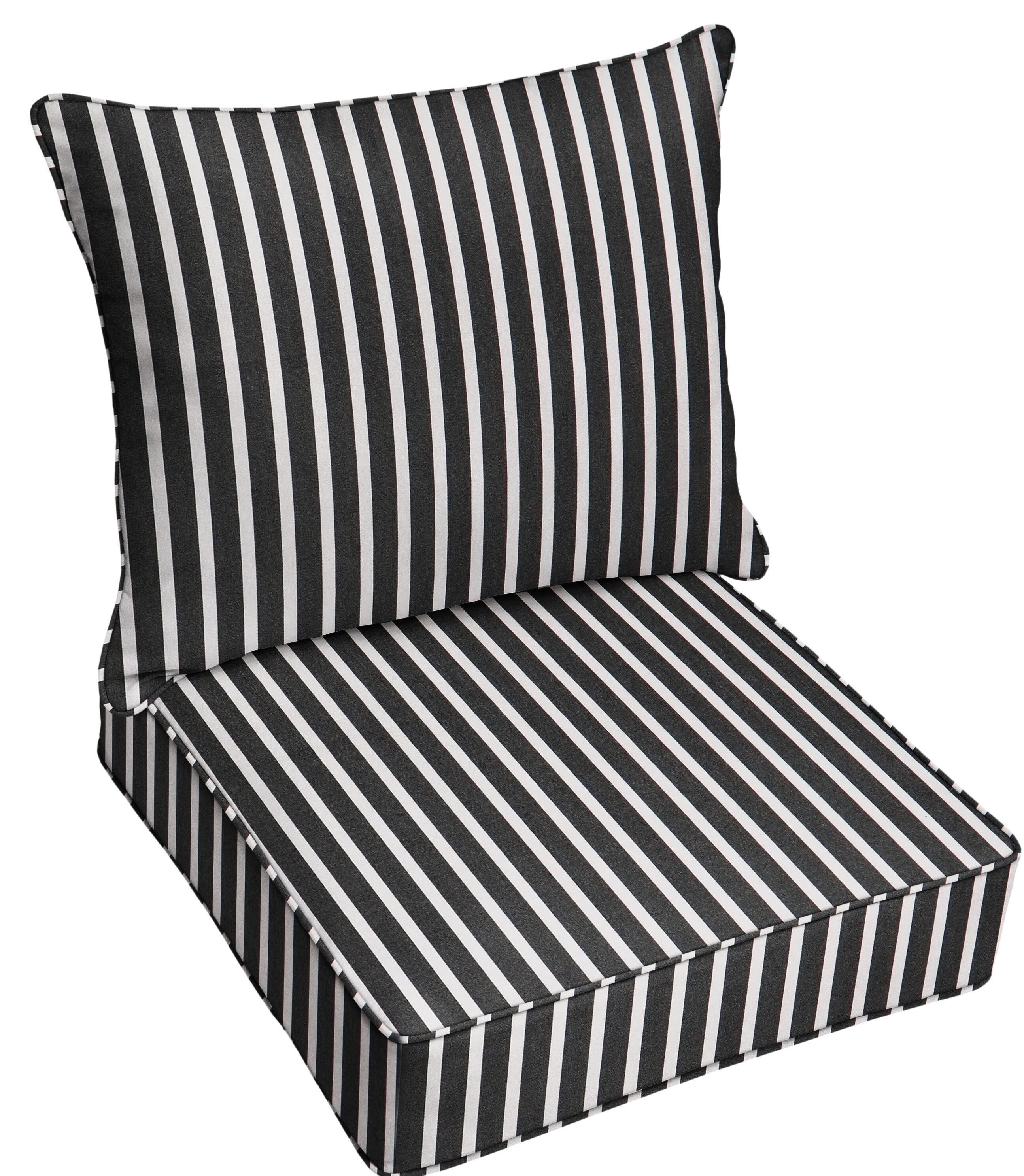 Mozaic Company 2 Piece Deep Seating Striped Indoor Outdoor Sunbrella Dining Chair Cushion Set