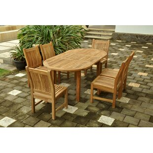 Rosecliff Heights Farnam 7 Piece Teak Dining Set with Sunbrella Cushions