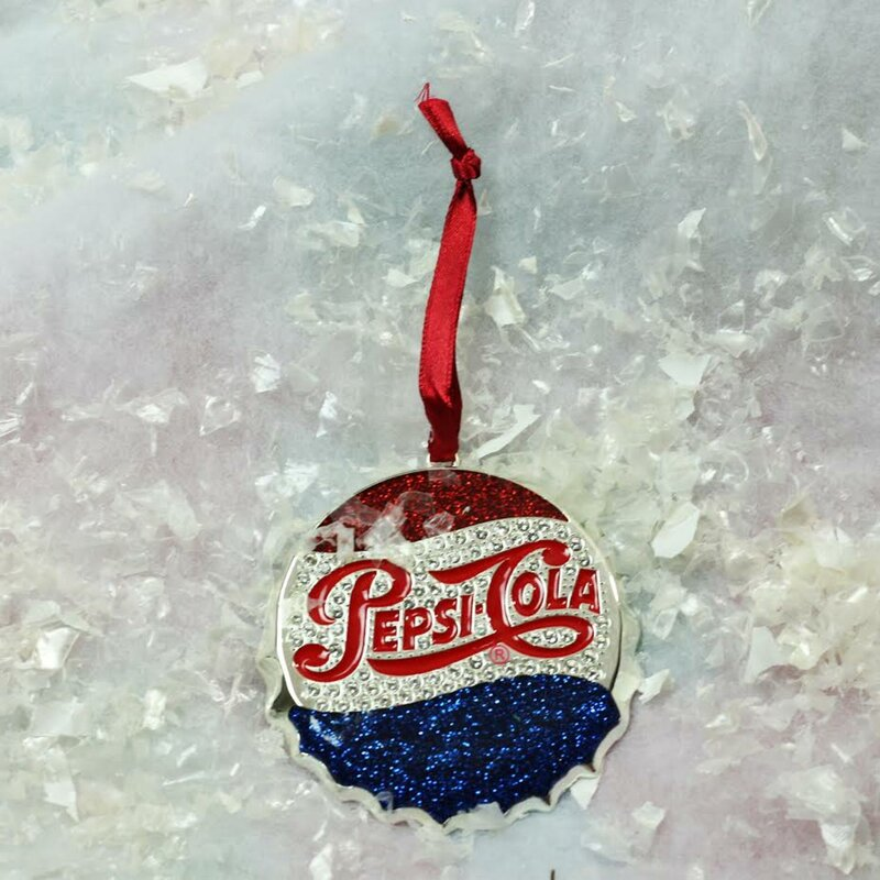 Classic Pepsi-Cola Bottle Cap Logo Christmas Ornament with European Crystal - Northlight Classic Pepsi-Cola Bottle Cap Logo Christmas Ornament