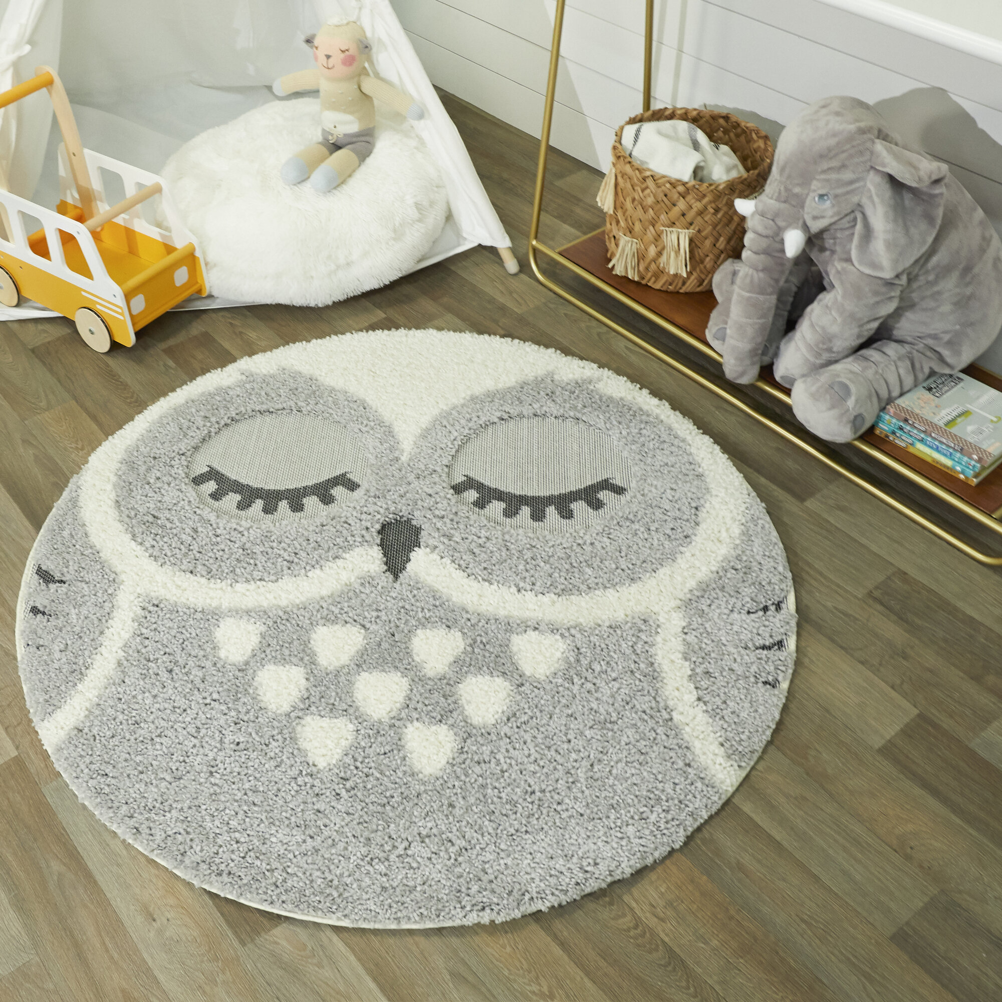 Zoomie Kids Round Oey Shag Gray Area Rug Reviews Wayfair