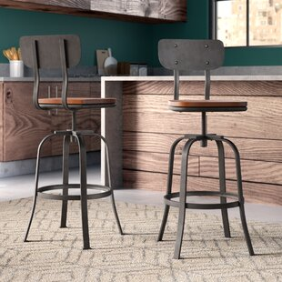 Garon Adjustable Height Swivel Bar Stool (Set of 2)