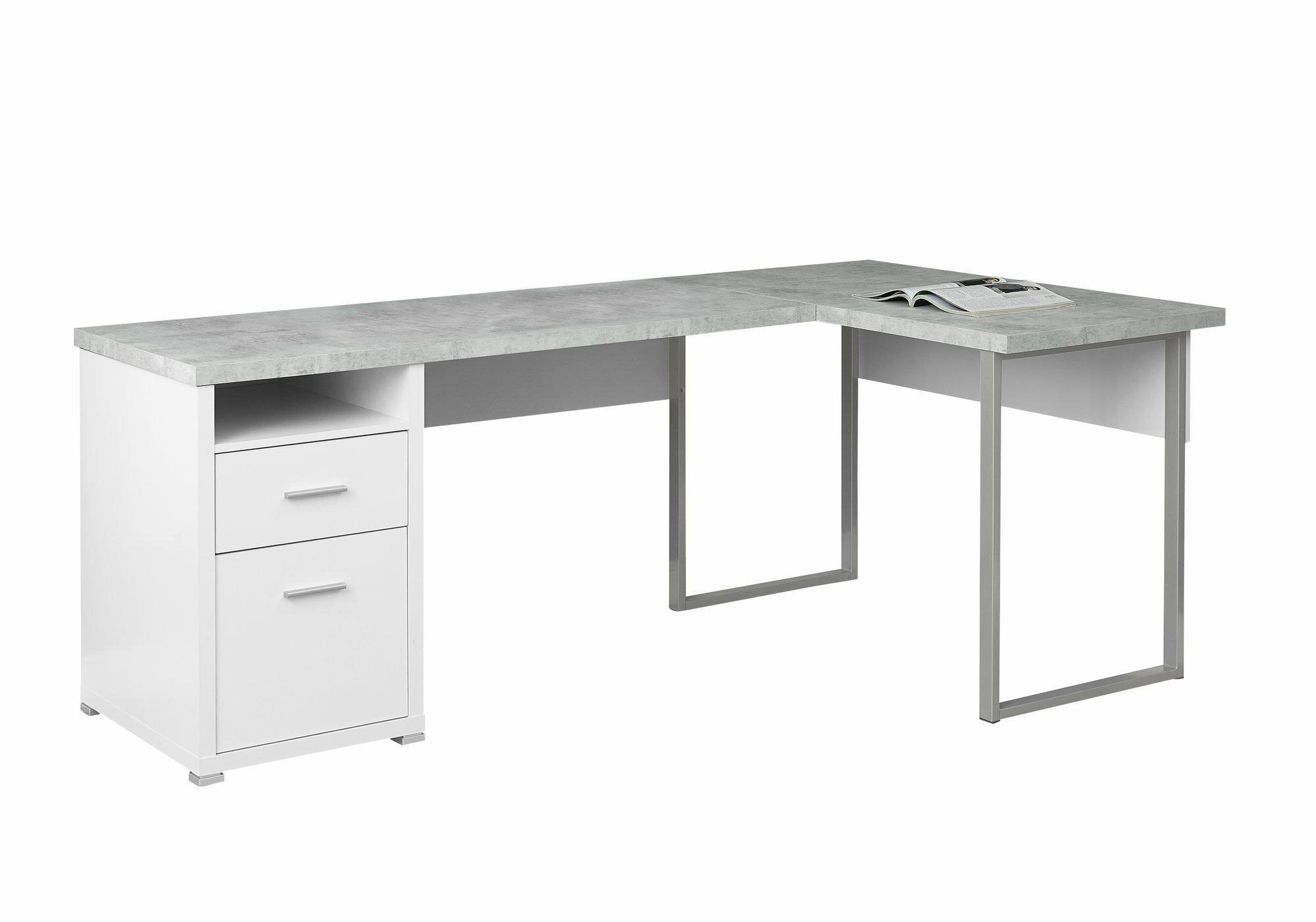 Image of: Latitude Run Darcio 2 Drawer L Shape Corner Desk Reviews Wayfair