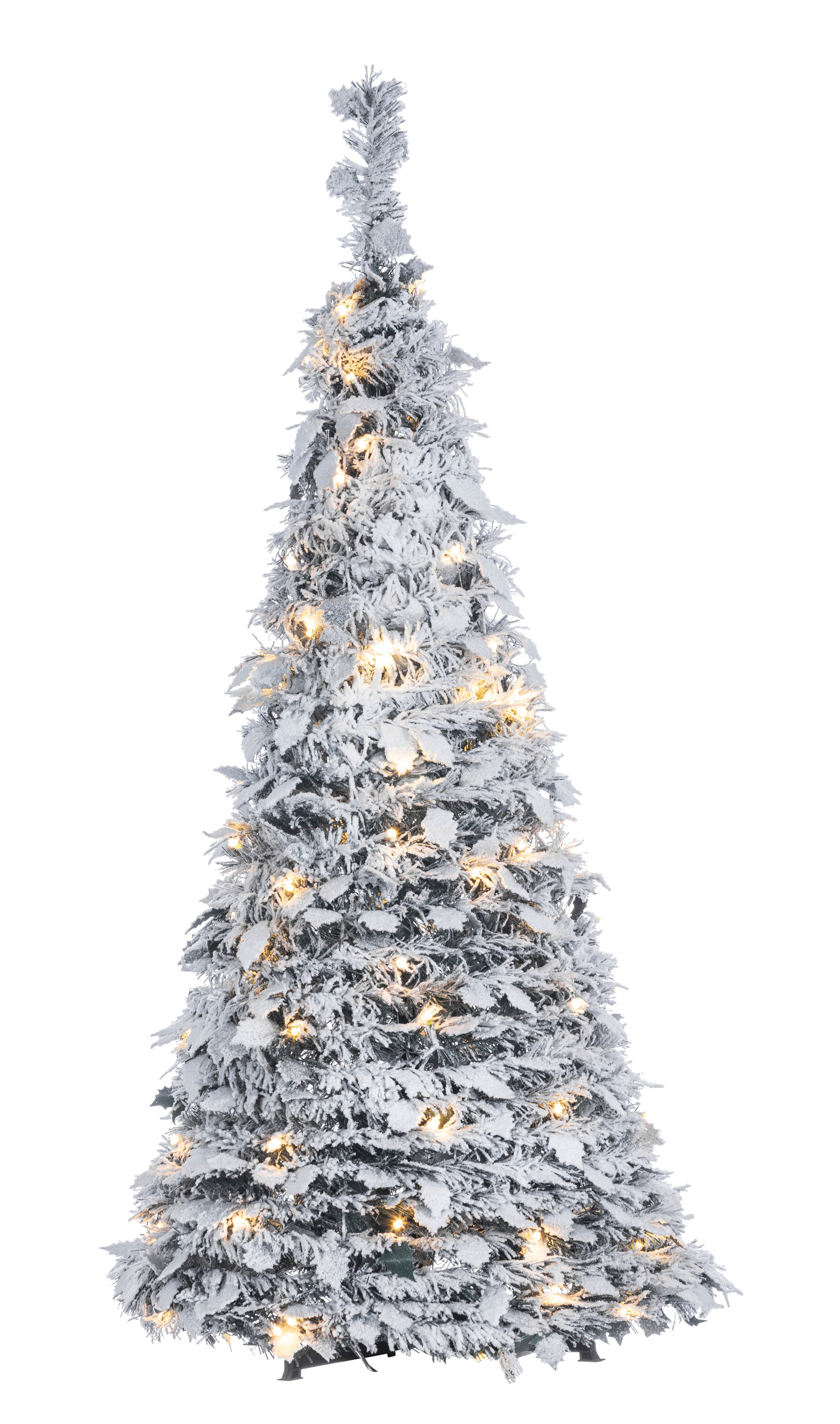 Pop Up Holly Leaves Silver Pine Artificial Christmas Tree With Clear White Lights
