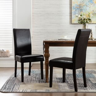 Suchitra Upholstered Parsons Chair in Black Set of 2 by Red Barrel Studio