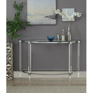 Makai Acrylic and Metal Half Moon Console Table by Everly Quinn