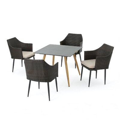 Cool George Oliver Isaac Outdoor 5 Piece Dining Set With Cushions Pdpeps Interior Chair Design Pdpepsorg