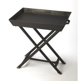Amato Leather Folding Tray Table by Everly Quinn