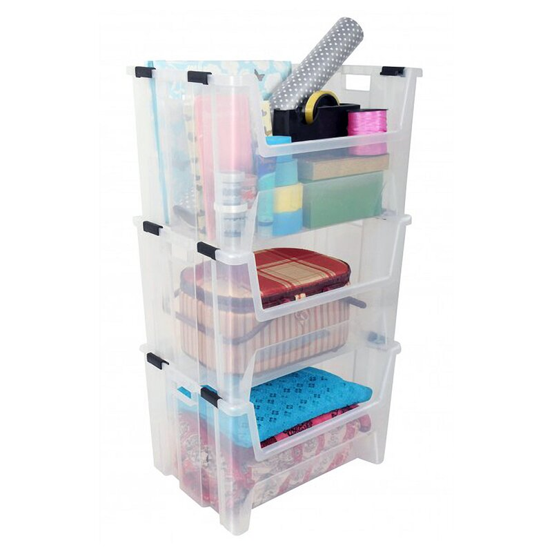 Pack and Stack Plastic Storage Tote